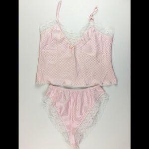 Vtg Women's Camisole Panties Pink Shiny Satin Lace